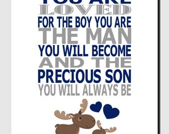 Moose Nursery Wall Art, Woodland Nursery Art, Moose Wall Decor, Baby Moose, Boy Nursery, Navy Gray, You Are Loved, Quote Art For Boy, Print