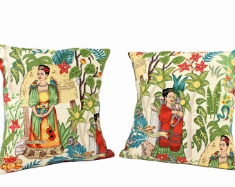 Frida Art Mexican Novelty Pillow Cover 18X18 Upholstery Oxford Fabric