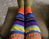 Colourful Crochet Knee High Socks, Crochet Hippie Socks, Small Medium size, Handmade, Red Heart Supersaver Yarn, Winter Accessories