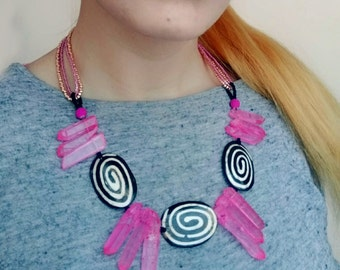 Pink Quartz Necklace, Beaded Statement Necklace, Bone and Crystal Bib Necklace