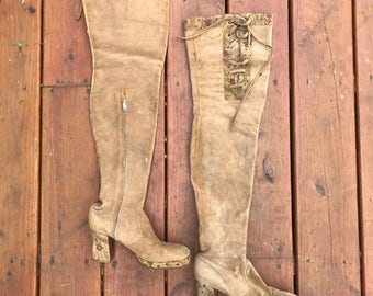 Vintage 60s suede THIGH HIGH platform boots / lace up tops / all leather interiors / hand stamped Indian floral details / size 6.5 US