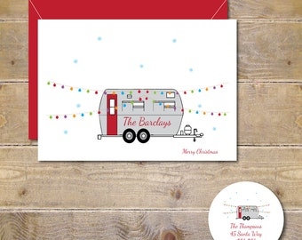 Christmas Cards, Camping, Camping Christmas Cards, Holiday Cards, Campers, Holiday Card Set, Snow, Handmade, Christmas Lights