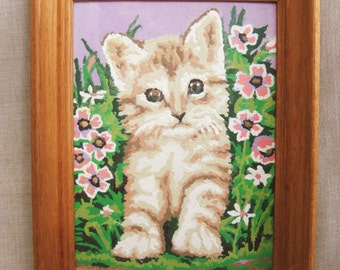 Vintage Paint by Number Kitten Painting, Cats, Feline, Kitty, Hand Painted, Wall Decor, Animals, Pet Portrait, Flowers, Pink, Green