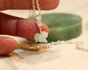 Dainty Jade Rooster Silver Necklace, Light Green Jade, Sterling Silver Chain, Birthday Gift, Birth Animals