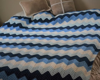 Chevron Blue and White Afghan/Vintage Queen Size Blanket/70s