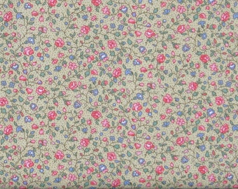 Pink, Blue & Green Small Floral on Light Yellow Dotted Background 100% Cotton Quilt Fabric for Sale, Calico Fabric, MDGCountry-01Yellow