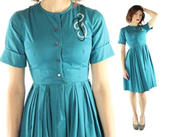 Vintage 60s Monogram Day Dress Pleated Skirt Turquoise Short Sleeve Shirtwaist 1960s Teen xx-small Pinup Rockabilly Fashion
