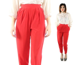 Vintage 80s High Waisted Trousers Pleated Pants Red Tapered Leg 1980s Liz Claiborne X-Small XS