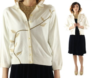 Vintage 50s Cardigan Sweater Ivory Knit Novelty Button Up 1950s Pinup Rockabilly Large L
