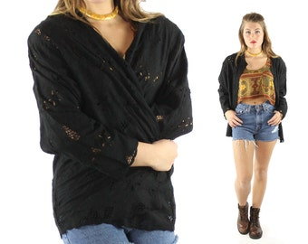 Vintage 80s Rayon Jacket Lace Cutout Embroidered Black Blazer Ethnic Bohemian Beach 1980s Medium M