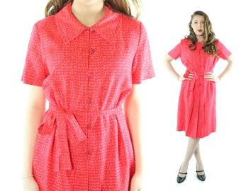 Vintage 60s Sundress Florescent Red Short Sleeve Shirt Waist Dress Button Up 1960s Large L XL Rockabilly Pinup Pink