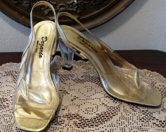 Dezario Clear Vinyl Shoes Pumps, Gold Metallic Leather Accents and Lucite Heels, Size 7, Excellent Condition