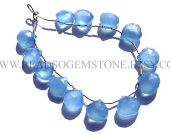 Blue Chalcedony Faceted Heart (Quality B) / 12 to 13 mm / 18 cm / CHALCE-037