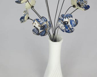 Blue and White Floral Design Bouquet of Tin Forever Blooming Flowers
