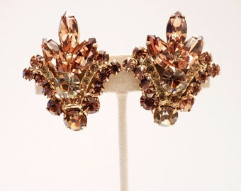 Juliana Light Montana Topaz Rhinestone Earrings by Delizza and Elster - 1 1/2 Inches