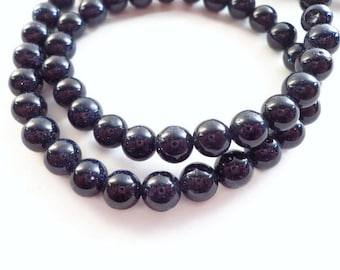 30 Natural Blue Sandstone Beads 6mm - Beads for jewelry making, diy bracelets
