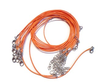 5  - 1.5mm Wax Nylon Cord Necklace with Lobster clasp in Orange