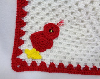 Cardinal Bird Baby Snuggie, Doll Blanket with Red Cardinal, St. Louis Cardinals Inspired, Baby Shower Gift for Cardinals Fan, White and Red