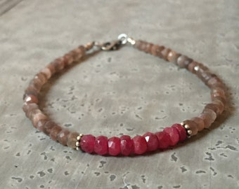 Warm Earthy Rustic - Chocolate Moonstone and Ruby Gemstone Bracelet - Dainty Delicate Gemstone Bracelet