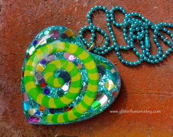 Turquoise Blue Rainbow Confetti Resin Heart Pendant, Lime Green Psychedelic Swirl Big Party Pendant, Unique Avant Garde Statement Necklace