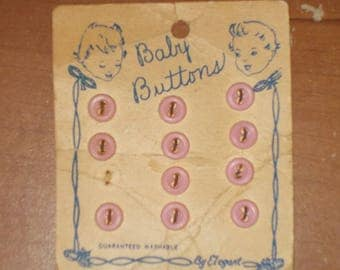 Tiny Little Pink Baby Buttons on Card Vintage Buttons by Elegant