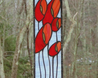 Stained glass poppy panel, bright red and orange flowers, Spring home window decoration, modern abstract poppies, handmade glass panel