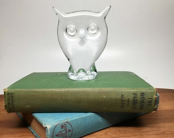 Viking Clear Glass Owl Paperweight