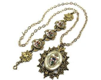 Vintage Gold Tone Heraldic Royal Crest Necklace Bracelet - Lucite, Enamel, Rampart Lion, Vintage Necklace, Vintage Bracelet,