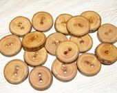 "17 Handmade apple wood Tree Branch Buttons with Bark, accessories (0,87'' diameter x 0,20"" thick)"