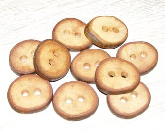 "10 Handmade apple wood Tree Branch Buttons with Bark, accessories (1,02"" diameter x 0,20"" thick)"
