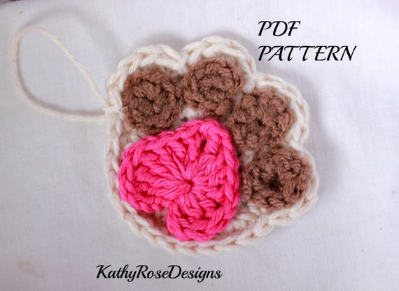 Pattern Crochet Dog Cat Paw Print Christmas
