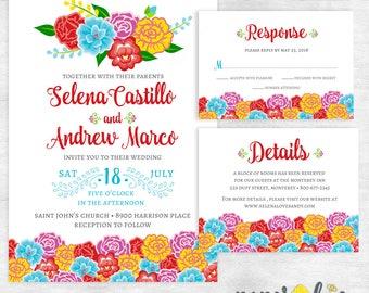 Mexican wedding invitations / Fiesta Wedding Invites / printable wedding invites / printed wedding invites