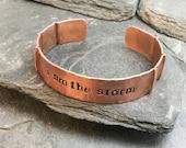 """6 copper, 2 aluminum """"I am the strom"""" cuff bracelets"""