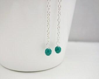 Long chain earrings turquoise beads earrings minimalist earrings gift for her
