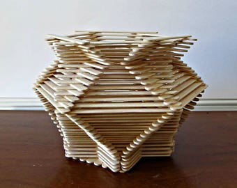 Hexagon Shaped Popsicle Stick Vase - Natural Wood, Home Decor