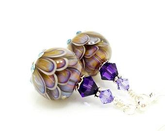 Purple Tan Lotus Flower Earrings, Lampwork Earrings, Glass Bead Earrings, Unique Earrings, Glass Art Earrings, Dangle Earrings