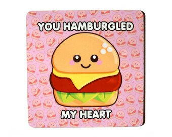 Hamburgled My Heart Coaster, gift for her, cute food coaster, happy burger illustration, cute home decor, valentine's day gift, food pun
