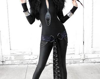 BLACK MATTE CATSUIT with long sleeve sleeves in heavy spandex
