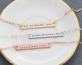 Morse Code Necklace • Silver Morse Code Bar • Bridesmaid Gift Rose Gold Morse Bar Necklace • Romantic Gift Secret Message Morse • QQQ