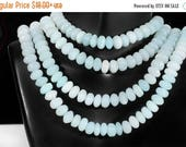 ON SALE Peruvian Opal Rondelles Smooth Polished Rondels Pale Aqua Blue Earth Mined Gemstone - 8mm - Your Choice of Length