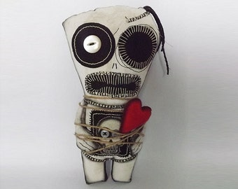 Voodoo Doll Scary Horror Doll Soft Sculpture Art Doll Skull