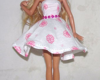 Pink and White Flowered Barbie Dress!