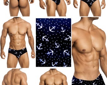 White Anchors on Navy-Black Swimsuits for Men by Vuthy Sim.  Choose Thong, Bikini, Brief, Squarecut - 182