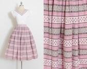 Vintage 50s Skirt & Top   1950s dress set   pink floral stripe cotton   medium m   5861