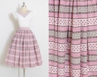 Vintage 50s Skirt & Top | 1950s dress set | pink floral stripe cotton | medium m | 5861
