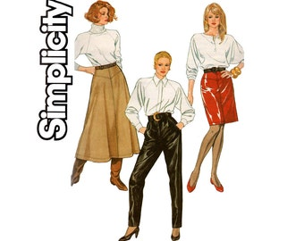 80s Womens Slim or Flared Skirt Leather Pants Pattern Simplicity 8869 Size 10 Waist 25 inches UNCUT Factory Folded