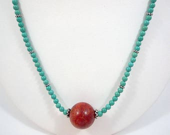 Turquoise Coral Necklace Turquoise Red Coral Necklace Red Sponge Coral Turquoise Necklace Coral Bead Necklace Blue Turquoise Coral Strand