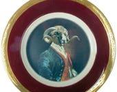 """ON SALE SALE - Imperfect - Dominus Coracinus Merino - Altered Vintage Plate 9"""""""