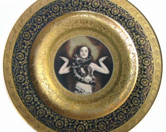 The Snake Lady Altered Vintage Plate 10.5""