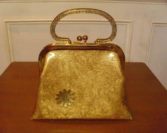Vintage 1950's/1960's  Vinyl Handbag w/Lucite Confetti Handle